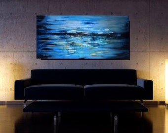 Large Blue Abstract Painting Large Canvas Art Large Wall Art Textured Painting Blue  Original Artwork Large Blue Art CHRISTOV ART