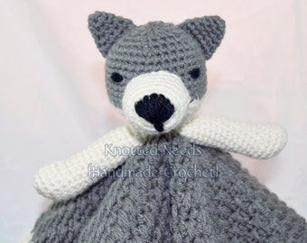 Crochet Wolf Lovey, Grey and White