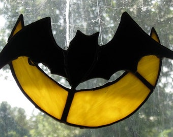 Stained Glass Halloween Bat in the Moon/Handcrafted/Sun Catcher