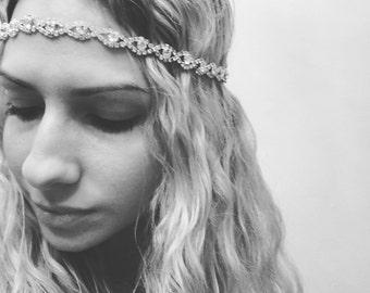 Rhinestone headpiece, headband, crystal, Style 405