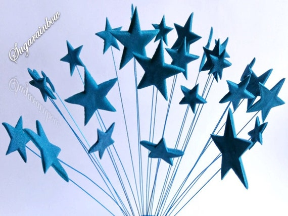 24 Edible sugar stars on wires wired cake decorations cupcake
