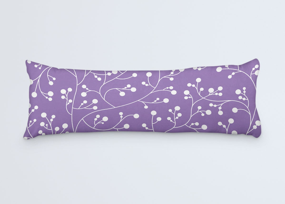 Large Decorative Body Pillow : Purple Body Pillow Vine Pattern Pillow Large Long Pillow