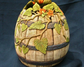Hand Carved Decorative Gourd with Weathered Barrel and Flowers Appearance