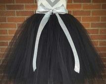 Adult Black Tulle Skirt, Long Tutu, Black Party Skirt, Little Black Dress, Long Teen Tutu,  Long Tulle Skirt, Tea Length Skirt, Cosplay Tutu