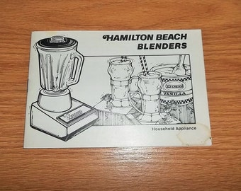 Vintage Hamilton Beach Blender Manual Cookbook Recipe Booklet Scovill 7 Speed 14 Speed
