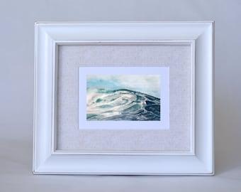Gift for Surfer - Blue Ocean Wave Watercolor Print - Coastal Beach Wall Art - Beach House Decor -  Watercolor Seascape Print - Wave Art