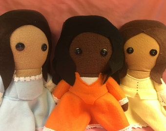 Angelica Eliza and Peggy Schuyler Sisters Hamilton Musical Fleece Plush Dolls