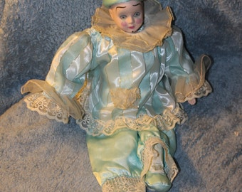 Vintage Clown Doll, Great Clothing, Lace Everywhere, Head and Hands Porcelain, Hand Painted, Blue and Gold Colors, Beautiful Expression Face