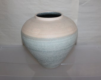 Pottery Vase For Decoration in The Home, Painted & Ribbed Around The Vase.  Beautiful Shape and Colors, Felt on Bottom, Pink, Turning Blue