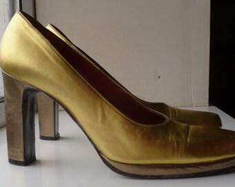 YSL Yves Saint Laurant gold vintage 1970's glamrock platform shoes size 3 UK
