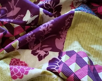 Patchwork minky baby girl  blanket- ready to ship/sale! - Bungalow  - Custom Baby Girl Bedding - purple olive green raspberry