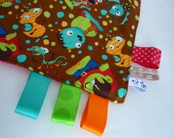 SECURITY BLANKET labels/Security blanket comfort / Children / Monsters / Brown / Ribbons