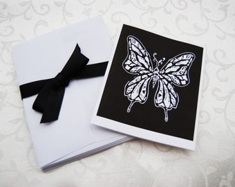 10 Black Butterfly Cards