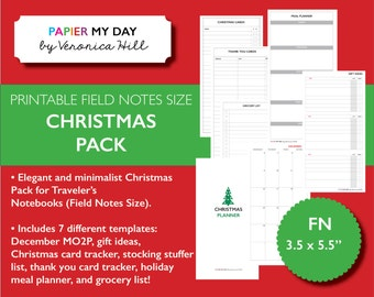 Field Notes Size 2016 Christmas Planner - Travelers Notebook Christmas Inserts for Field Notes and Pocket Size Planners