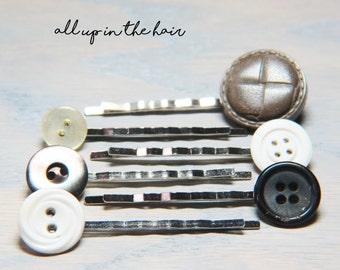 Button Bobby Pin Set - Button Bobby Pins - Hair Pins - Bobby Pins - Button Hair Pins - Neutral Bobby Pins