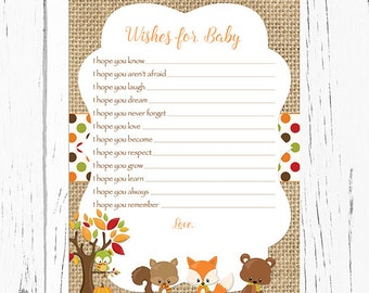 Fall Woodland Wishes for Baby Card, Woodland Baby Animals Wishes for Baby Card, Well Wishes for Baby, Instant Download  Printable223