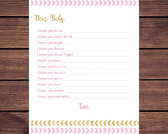 Pink and Gold Wishes for Baby Card, Pink Gold Arrows Wishes for Baby Card, Well Wishes for Baby, Dear Baby, Instant Download Printable