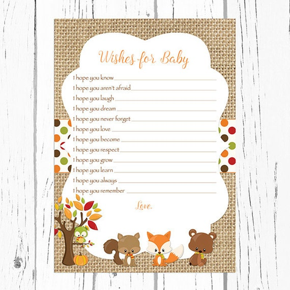 Fall woodland wishes for baby card woodland baby animals for Wishes for baby template printable