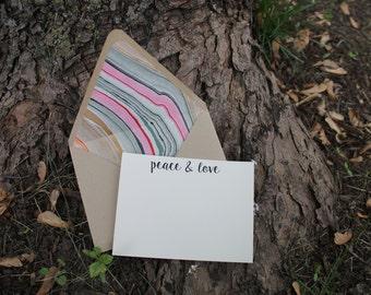 Peace & love stationery set