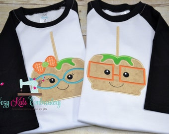 Fall Shirt, Thanksgiving Shirt, Brother Sister Shirt, Candy Apple Shirt, Glasses Shirt, Embriodery, Applique, Custom Shirt, Boy Girl shirt