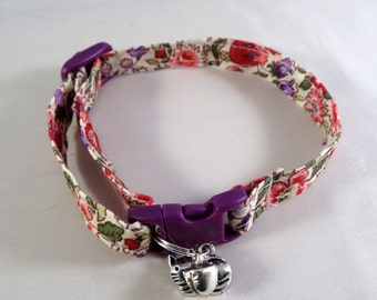 Cat Collar optional bow // Pink & purple floral