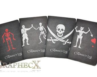 Fan-made Pirates Black Sails Blackbeard Edward Low Black Bart Walrus Flint Jack Rackham Captain's log inspired personalized journal notebook