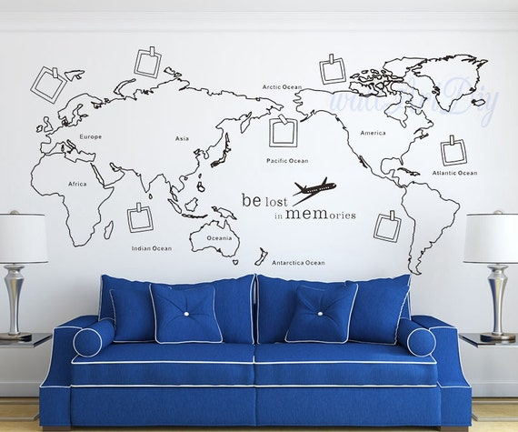 world map wall decal map wall sticker travel map by wallartdiy. Black Bedroom Furniture Sets. Home Design Ideas