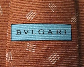 Bvlgari Tie Woven Silk Zebra Geometric Pattern Brown Vintage Designer Dress Davide Pizzigoni Necktie Made In Italy