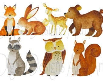 Watercolor forest animals clipart, foxes clipart, Forest animal clipart,  Woodland Animal clipart, Animals illustration, Bear illustration