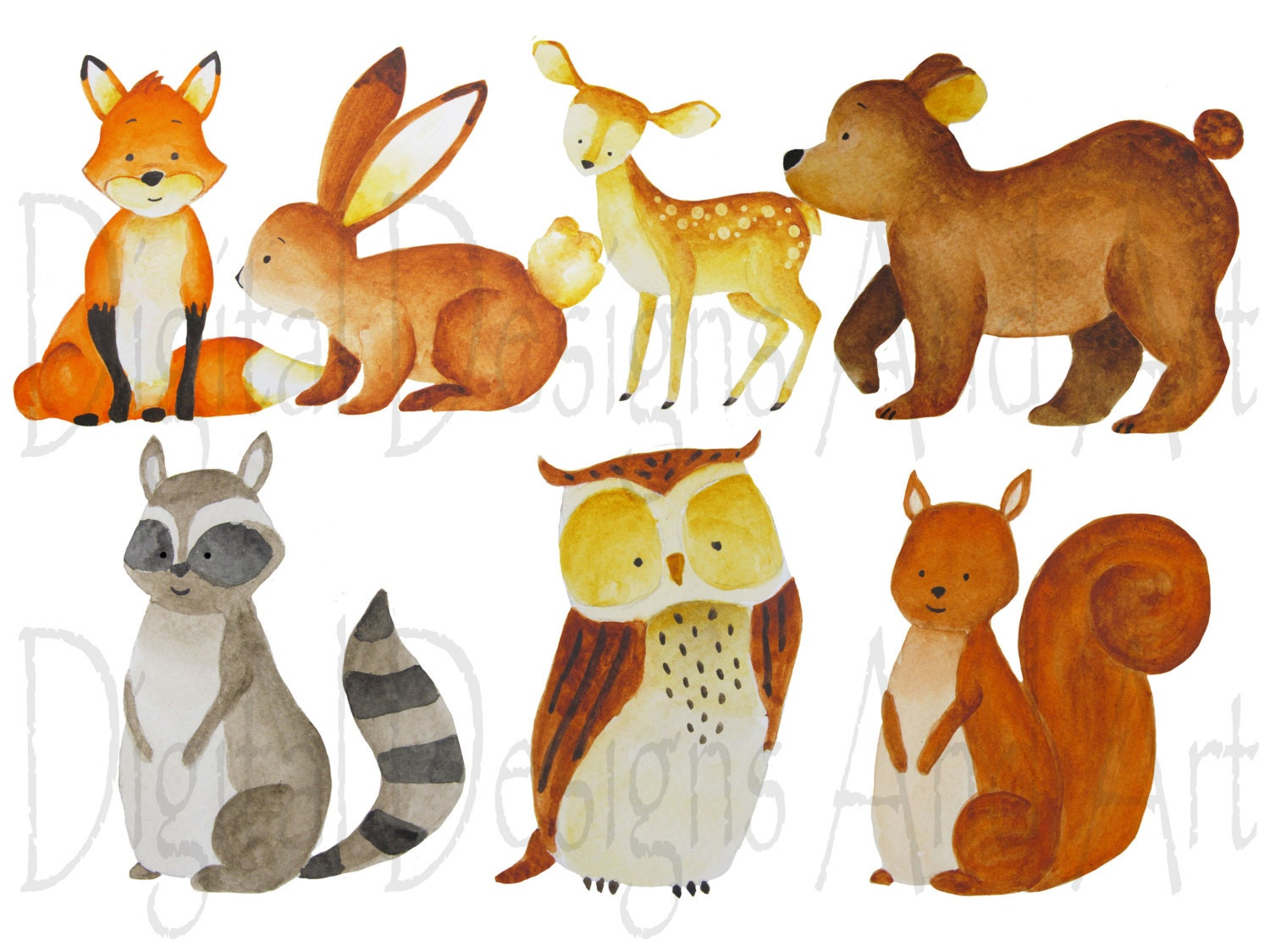 Watercolor Forest Animals Clipart Foxes Clipart Forest