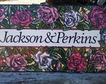 Vintage 34 x 18 Jackson & Perkins Roses Sign