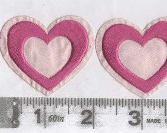 Pair of red and pink satin heart iron on patches