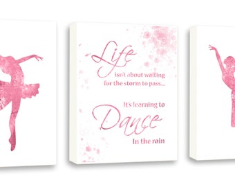 Pink Ballerina, Girls Room Decor, Dance Stusio Decor, Set Of Three Limited Edition Gallery Wrapped Canvases - DS7C