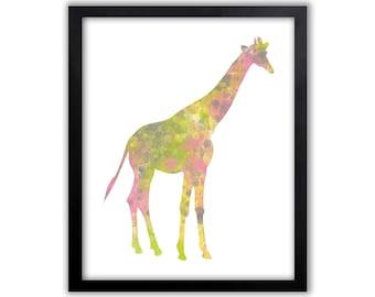 Multicolor Giraffe Wall Art, Safari Wall Art, Giraffe, Limited Edition Art Print - AS32002P