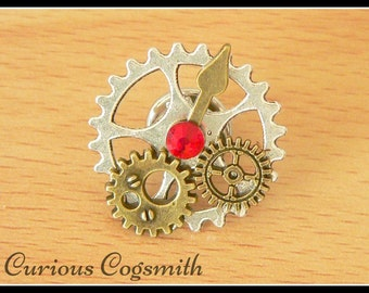 Red Steampunk Hat Pin - Steampunk Tie Pin - Dieselpunk Tie Pin - Steampunk Pin - Cog Pin - Steampunk Jewellery - Steampunk Hat Pin