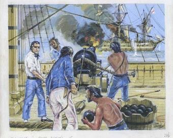 John Smith Ingouville In Naval Action Illustration Art Drawing Nautical Sea Battle Painting Gouache on Board