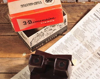 View Master - Vintage View Master - 3 Dimensions Viewer - Vintage Viewer Toy - Viewmaster 1950 with Box and booklet! Bakelite Model E 3D