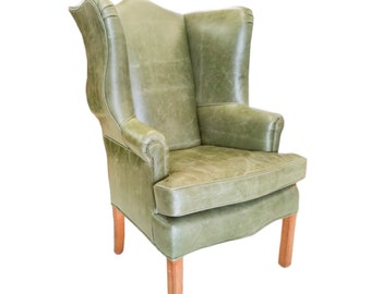 Chippendale Wingback Leather Chair