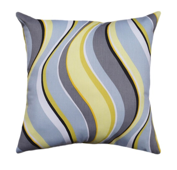 Modern Yellow Pillows : Yellow and Gray Pillow Cover Modern Gray by ThePillowCoverStore