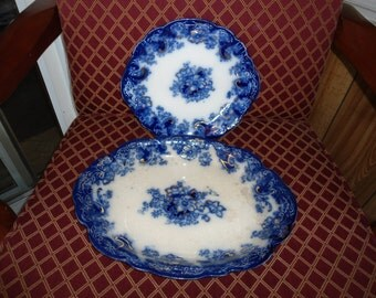 Blue and White Ormonde China, Alfred Meakin, Semi Porcelain, Limoges, Antique Porcelain Platters, Antiques, Cobalt Blue, Gift for her,
