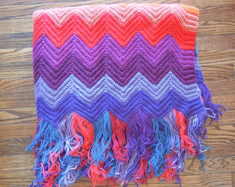 Vintage Chevron Knit Throw and Afghan with Fringe