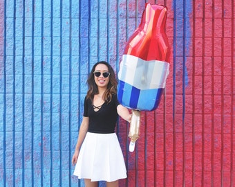 Popsicle Red White Blue Balloon - July 4th Independence Day jumbo mylar balloon ice cream