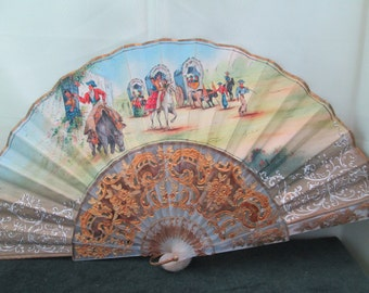 Spanish Fan signed Aquilar  with gold brocade Handpainted