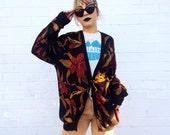 RESERVED 1980's Heavy Cotton Pointsetta Autumn Oversized Cardigan