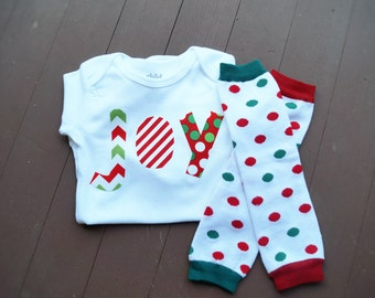 Baby boy first Christmas outfit - Baby boy Christmas onesie - Baby boy Christmas leg warmers
