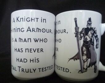 Knight Slogan Mighty Mug, Cider Mug, Medieval, Coffee Tea Mug, Warrior, larp, Sir