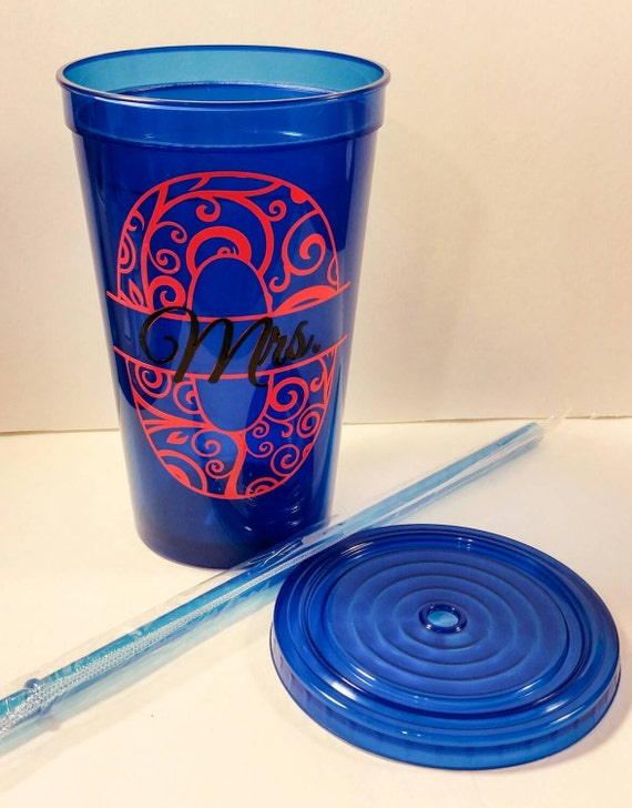 Personalized Plastic Cups With Lid Amp Straws Double Walled