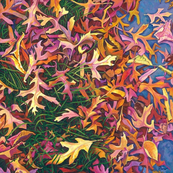 The Death of Summer,  Giclée  print 55X55cm, from an original painting in acrylic of autumn leaves