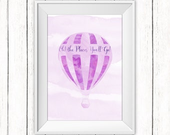 Nursery Printable Art Oh The Places You'll Go Art Print Dr Seuss Quote Purple Hot Air Balloon Wall Art Instant Download Digital File