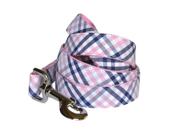 Navy And Pink Gingham Dog Leash, Girl Dog Leash, Plaid Dog Leash, Tartan Dog Leash, Check Dog Leash, Dog Lead, Gingham Dog Leash, Pink Leash